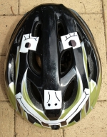 Chris's helmet ready for scaring magpies