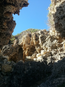 limestone towering above