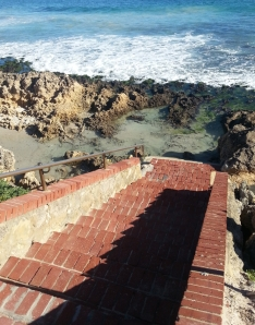 these stairs used to lead to the beach but are now blocked off as the beach eroded