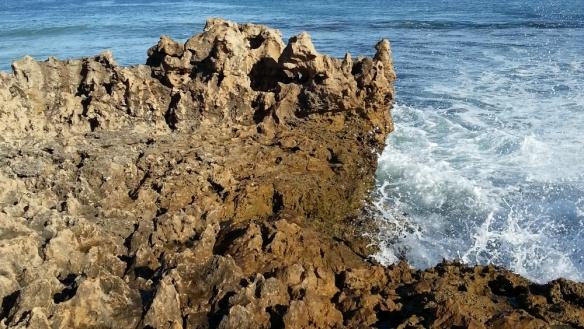 ocean spray on the rocky shore