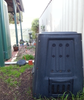 one of my compost bins next to the summer vegie bed, which doesn't get enough sun in winter